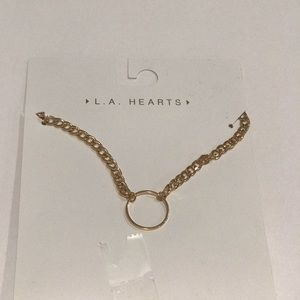 LA hearts gold choker necklace